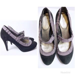 Boden Baley Black Suede Mary Jane Heels Size 37 7